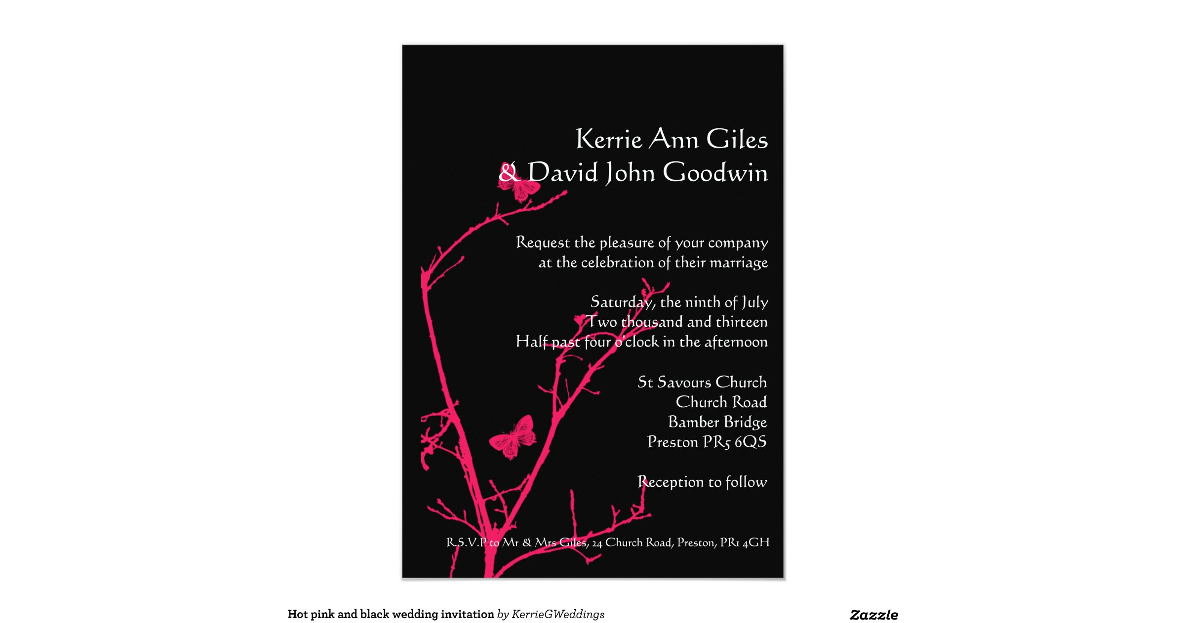 wedding invitation pink and black - 28 images - hot pink and black ...