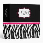 Hot Pink and Black Zebra Binder
