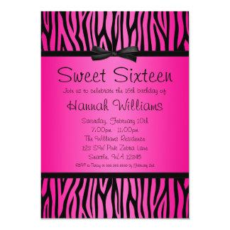 Hot Pink and Black Zebra Bow Sweet 16 Birthday Card
