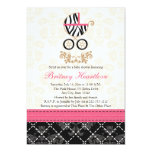 Hot Pink and Black Zebra Carriage Baby Shower 5x7 Paper Invitation Card