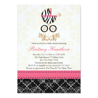Hot Pink and Black Zebra Carriage Baby Shower Card