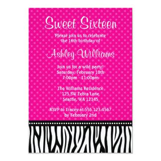 Hot Pink and Black Zebra Polka Dot Sweet 16 Card