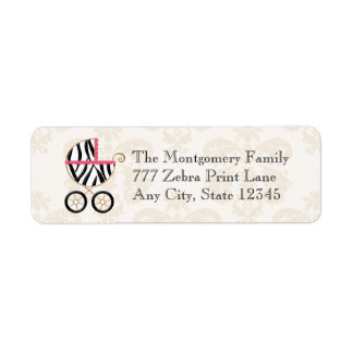 Hot Pink and Black Zebra Print Baby Carriage Label