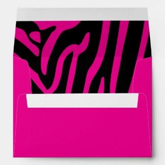 Hot Pink and Black Zebra Print Envelopes