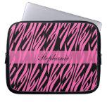 Hot Pink and Black Zebra Print Laptop Sleeve