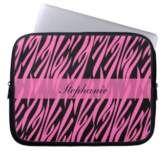Hot Pink and Black Zebra Print Laptop Sleeves