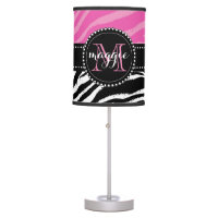Hot Pink and Black Zebra Print Monogram girly2 Desk Lamp