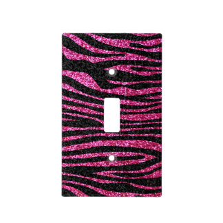 Hot pink and black Zebra stripe animal print Switch Plate Cover