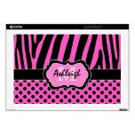 "Hot Pink and Black Zebra Stripe Polka Dot Laptop 17"" Laptop Skins"