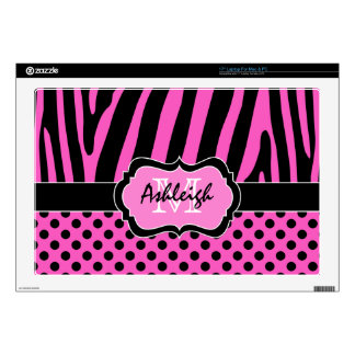 "Hot Pink and Black Zebra Stripe Polka Dot Laptop 17"" Laptop Decals"