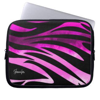 Hot Pink And Black Zebra Striped Pattern Laptop Computer Sleeve