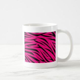 Hot Pink and Black Zebra Stripes Classic White Coffee Mug