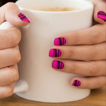 Hot Pink And Black Zebra Stripes Minx Nail Wraps by RainbowChild_Art at Zazzle