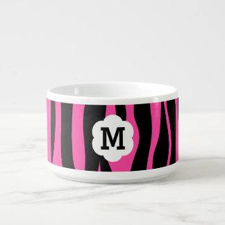 Hot pink and black zebra stripes monogram chili bowl