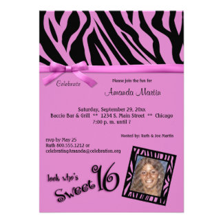 Hot Pink And Black Zebra Stripes Sweet 16 Party Personalized Invitations
