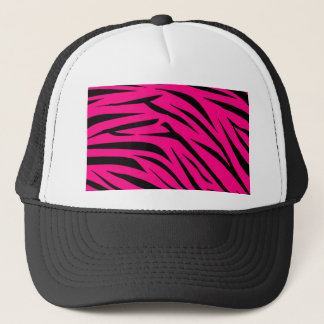 Hot Pink and Black Zebra Stripes Trucker Hat