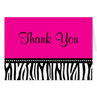 Hot Pink and Black Zebra Thank You Greeting Card