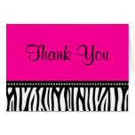 Hot Pink and Black Zebra Thank You Stationery Note Card