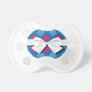 hot pink and blue diamond damask pacifier