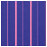 [ Thumbnail: Hot Pink and Blue Striped/Lined Pattern Fabric ]
