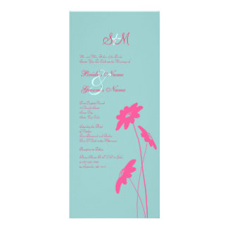 Hot Pink and Blue Wildflowers Wedding Invitation