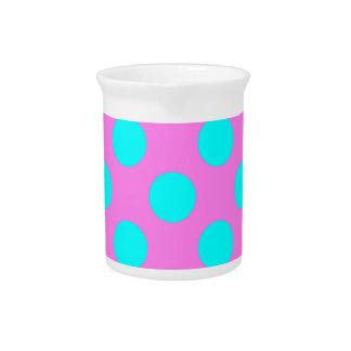 Hot Pink and Bright Blue Polkadots Drink Pitcher