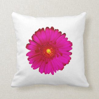 Hot Pink and Bright Orange Gerbera Daisy on White Throw Pillow
