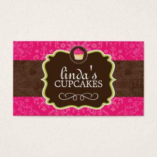 Hot Pink and Brown Cupcake Business Cards