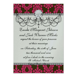 hot pink and brown damask design card