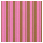 [ Thumbnail: Hot Pink and Brown Lines Pattern Fabric ]