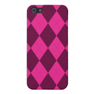 Hot Pink and Burgundy Argyle Cover For iPhone SE/5/5s