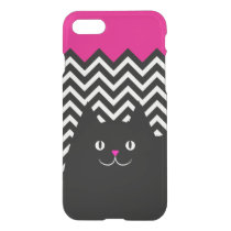Hot Pink and Chevron Kitty Cat iPhone 7 Case