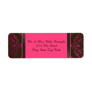 Hot Pink and Chocolate Brown Custom Return Address Label