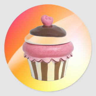 Hot pink and chocolate cupcake stickers