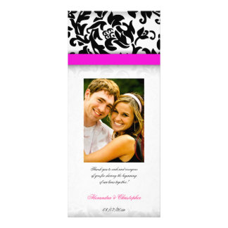 Hot Pink and Damask Delight Wedding Program Customized Rack Card