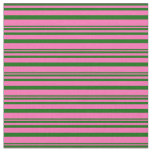 [ Thumbnail: Hot Pink and Dark Green Colored Lines Pattern Fabric ]