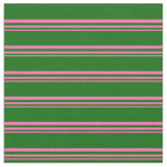 [ Thumbnail: Hot Pink and Dark Green Colored Pattern Fabric ]
