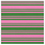 [ Thumbnail: Hot Pink and Dark Green Lines/Stripes Pattern Fabric ]