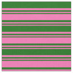 [ Thumbnail: Hot Pink and Dark Green Stripes Pattern Fabric ]
