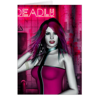 Hot Pink and Deadly Vampire Gothic Card