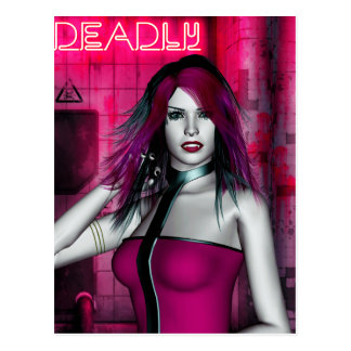 Hot Pink and Deadly Vampire Gothic Postcard