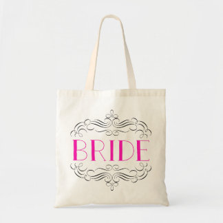 Hot Pink and delicate swirls Wedding tote