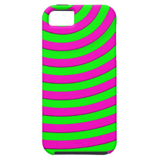 hot pink and electric green stripes iPhone SE/5/5s case