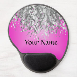 Hot pink and faux glitter gel mouse pad