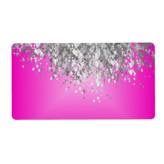 Hot pink and faux glitter labels
