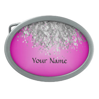 Hot pink and faux glitter oval belt buckle
