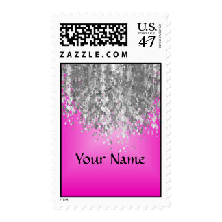 Hot pink and faux glitter postage