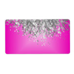 Hot pink and faux glitter shipping label