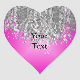 Hot pink and faux glitter heart sticker