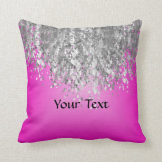 Hot pink and faux glitter throw pillow
